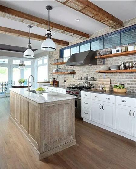 美式风格厨房砖墙背景墙
