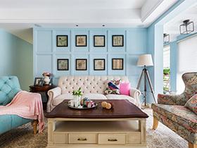 135平米现代美式风格效果图 清蓝之色