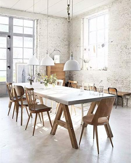 餐厅装修木质餐桌图片