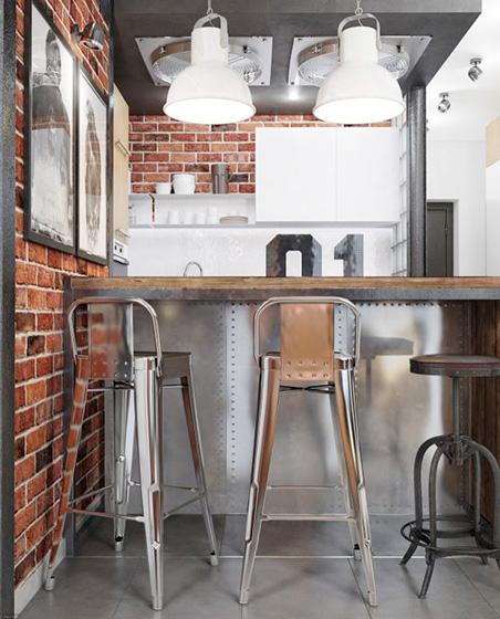 工业风厨房砖墙平面图