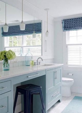 蓝色系浴室洗手池欣赏图