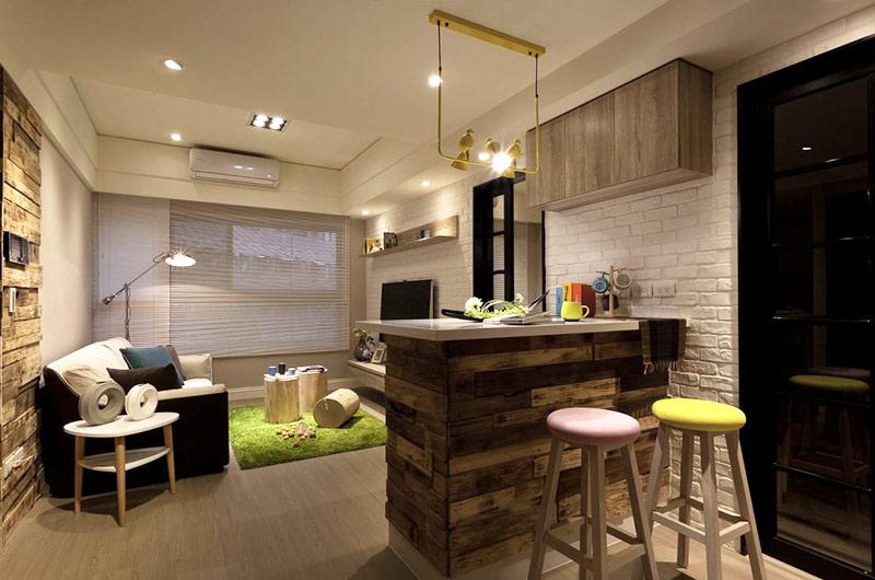 53平小公寓装修玄关吧台图片