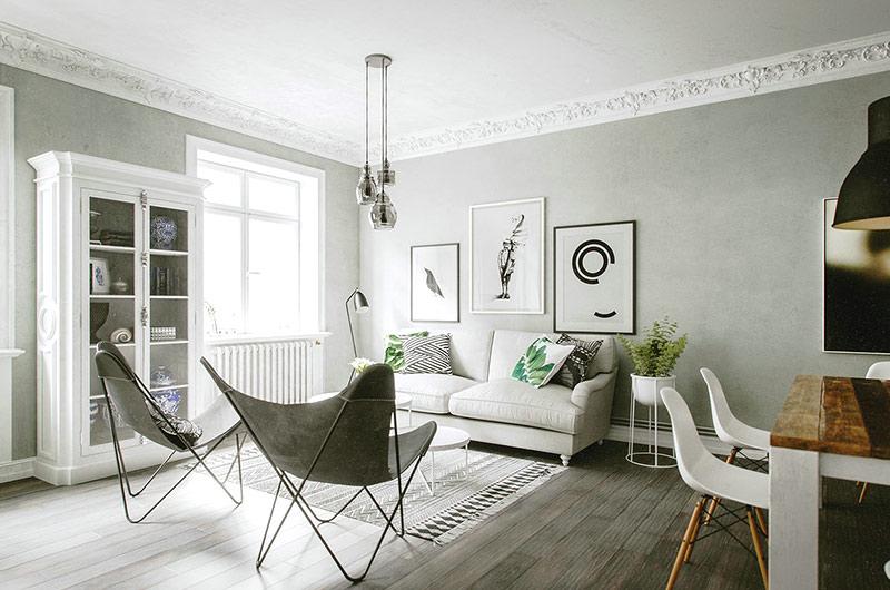 北欧风格单身公寓客厅装修图