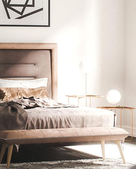 北欧风格单身公寓卧室床尾凳