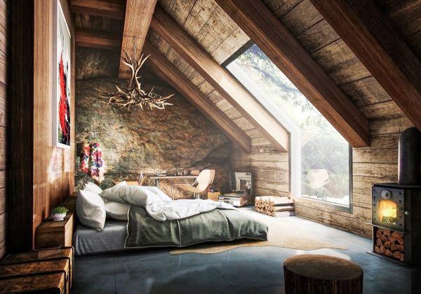 复古风格阁楼卧室设计参考图