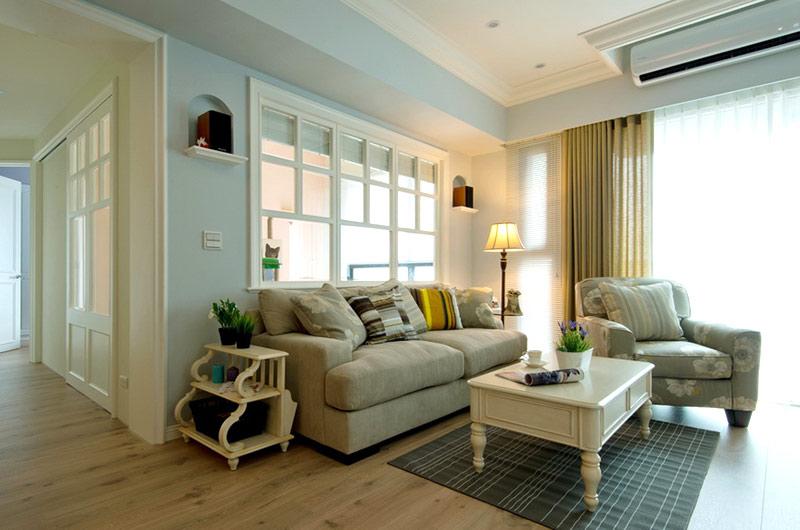 美式风格婚房装修布艺沙发图片