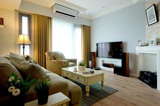 美式风格婚房装修客厅木地板图片