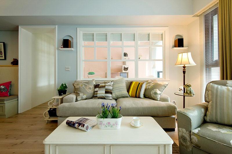 美式风格婚房装修沙发背景墙装修