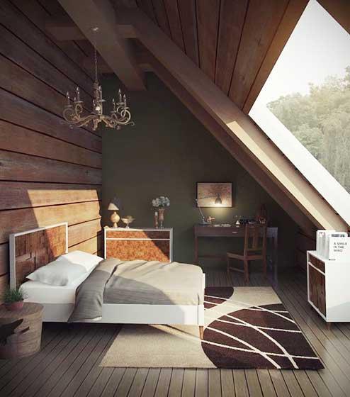 复古阁楼卧室设计实景图