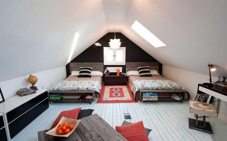 双人阁楼卧室设计参考图片