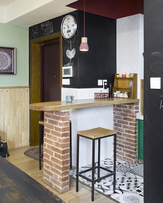 83平混搭风格装修厨房吧台装修