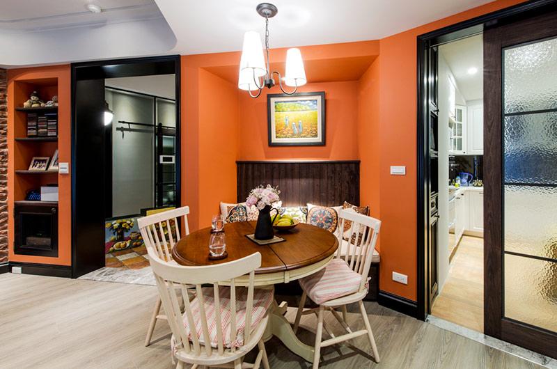 82平美式风格装修餐厅背景墙设计
