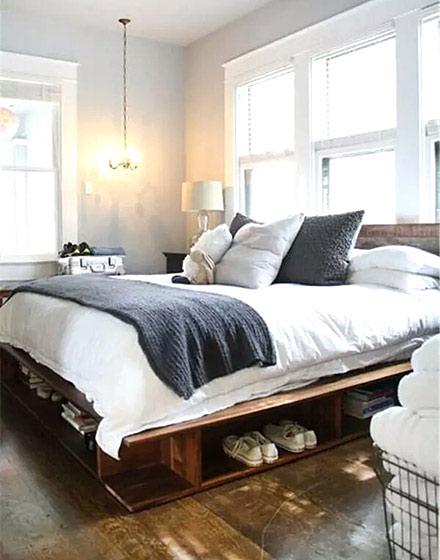 卧室木板床效果图装修