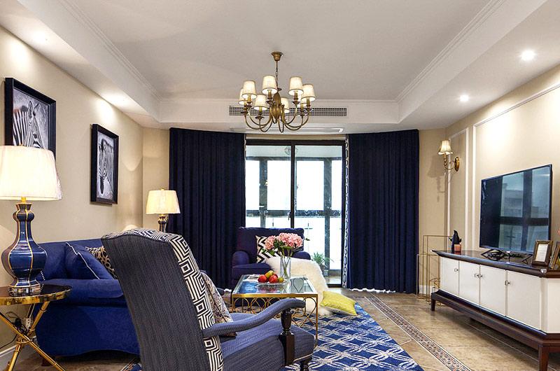 160平美式四房装修客厅吊灯设计