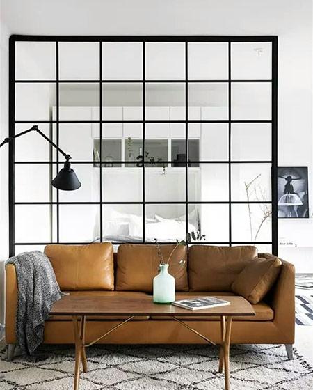 小户型一居室装修客厅玻璃隔断