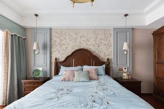135平简美风格装修卧室壁纸图片