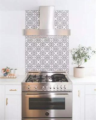 开放式厨房装修瓷砖背景墙
