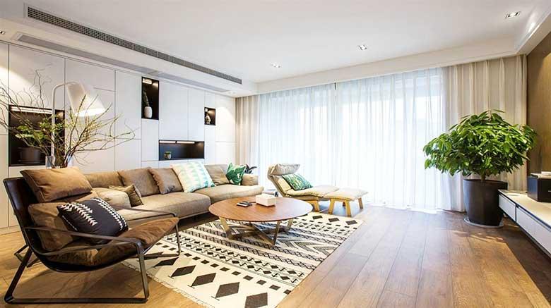 90平米房子两居室简装效果图 客厅图片