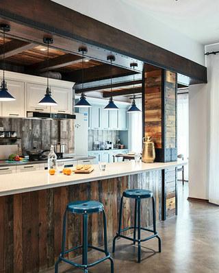 139平混搭风格三居厨房吧台设计