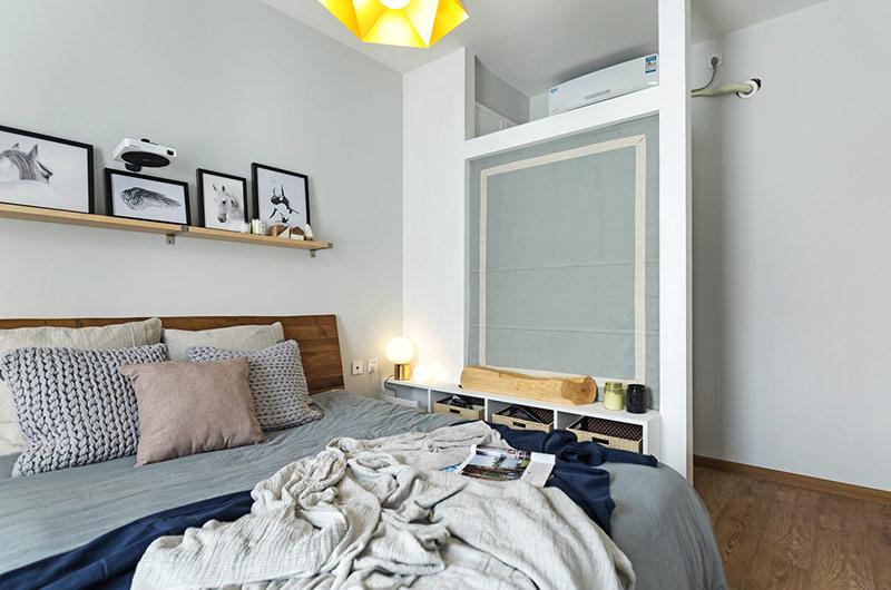 70平北欧风格二居卧室床品图片