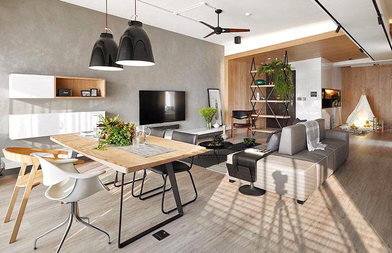 132平简约公寓装修餐厅吊灯设计