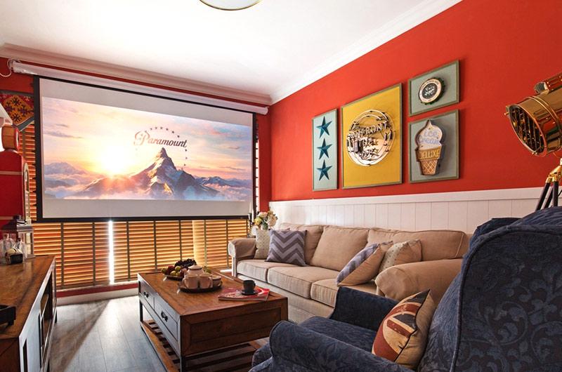 60平美式风格二居客厅装修图