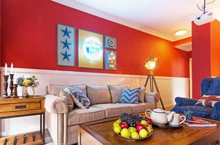 60平美式风格二居沙发背景墙装修
