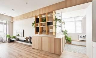 105㎡新中式两居室电视背景墙实景图