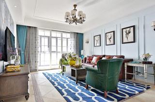 117平混搭风格二居客厅效果图