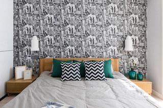 140平北欧风格三居卧室壁纸图片