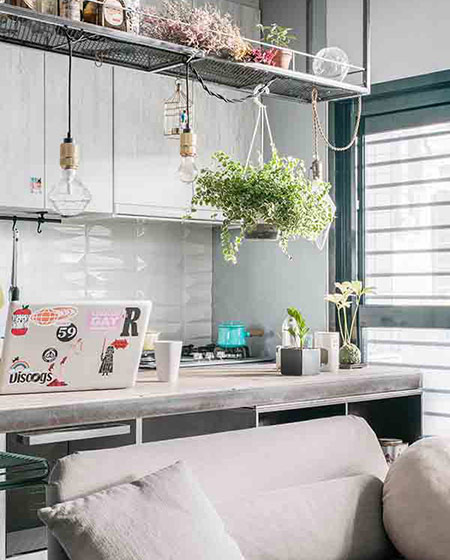 30平单身公寓装修厨房吊灯图片