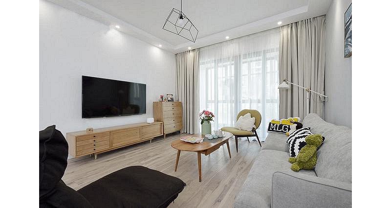 90平米欧式三居室装修效果图,北欧宜家风装修案例效果图片
