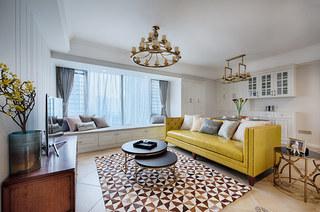 98平美式风格三居客厅效果图