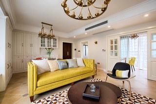 98平美式风格三居布艺沙发图片