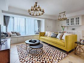 98平美式风格三房两厅装修 摩卡薄荷咖啡