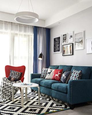 105平简约风格三居布艺沙发图片