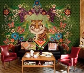 手绘沙发背景墙效果图