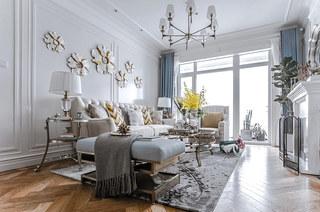 140平法式样板房装修客厅设计