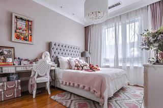140平法式样板房装修卧室床头软包