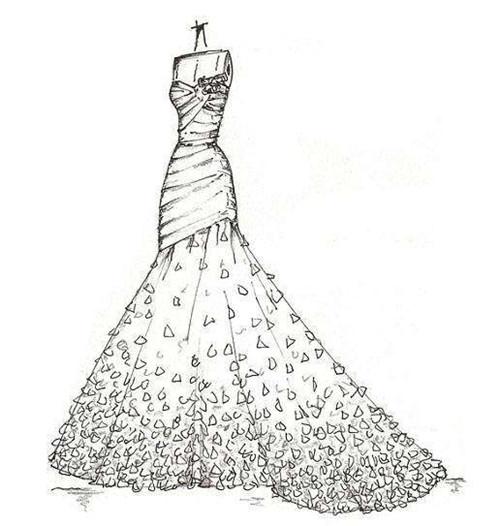 婚纱背影简笔画_设计师的婚纱手稿欣赏 如何根据肤色挑选婚纱