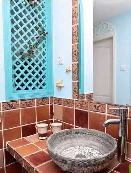 卫生间砖砌洗手池图片