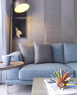 80平北欧风格二居布艺沙发图