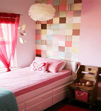 粉色系儿童房设计布置图
