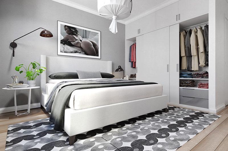 北欧风格一居室装修卧室衣柜设计