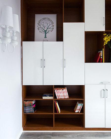 110平米北欧风格三居书柜设计图