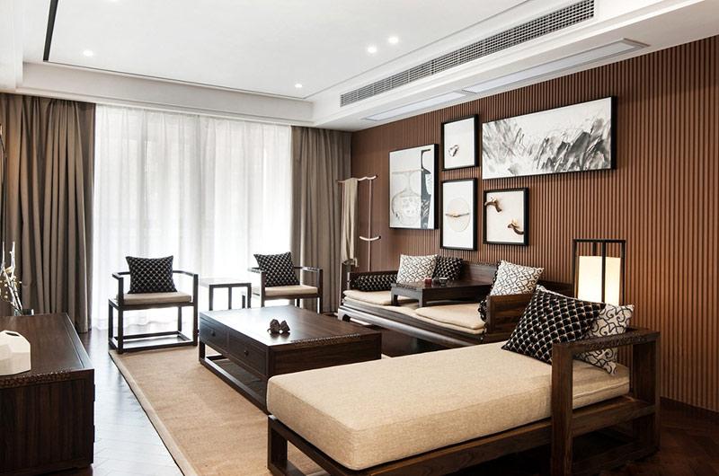 138平新中式风格客厅效果图