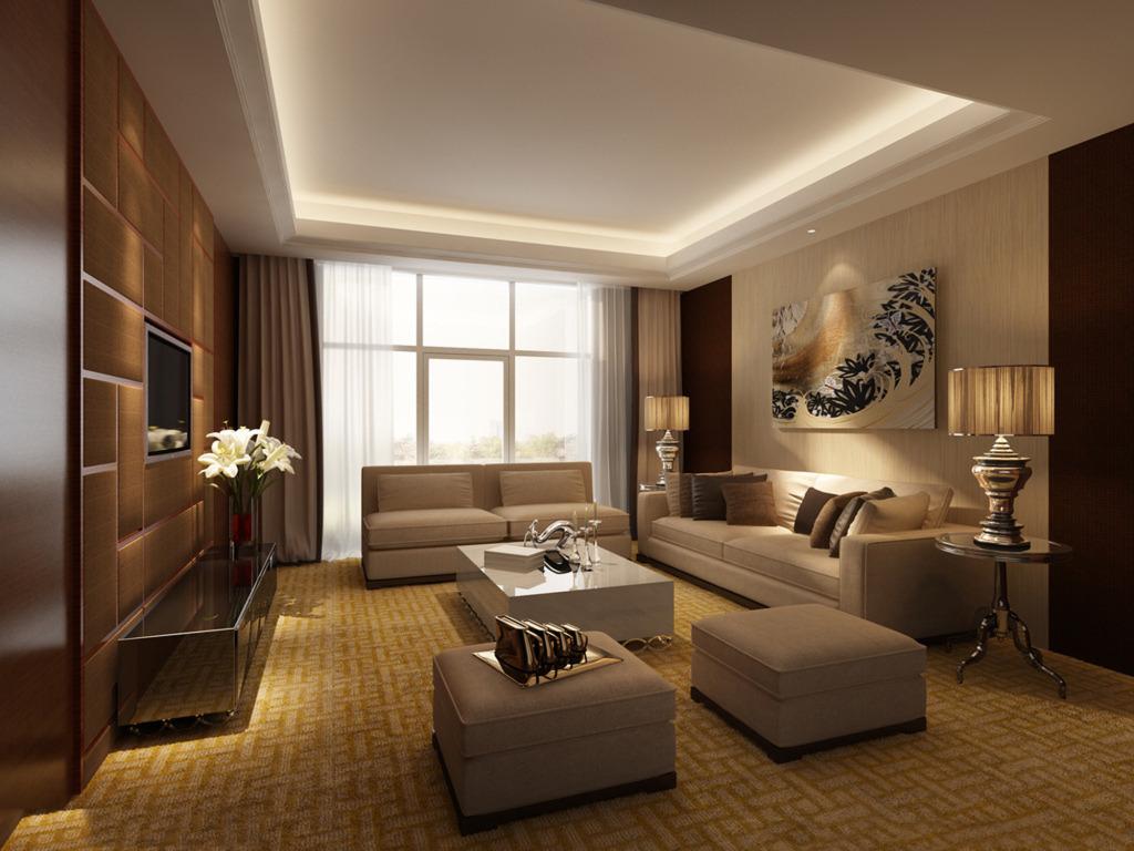 图中家居客厅与是一个多功能的区域,空间还是比较大的所以选择的沙发