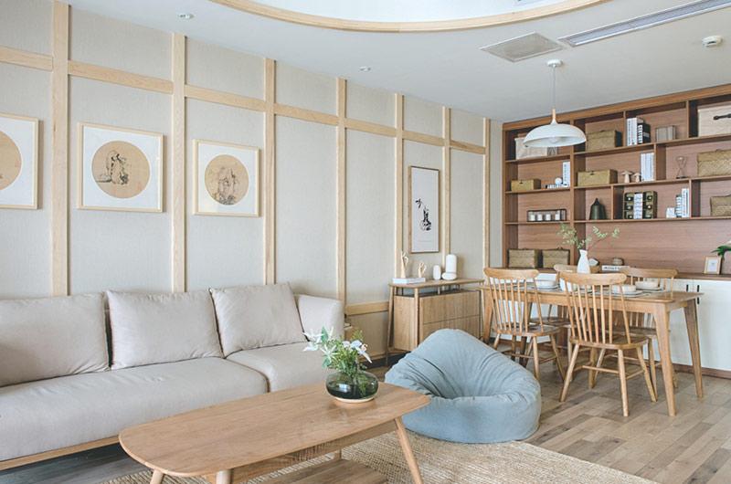 120平日式风格三居客厅背景墙装修