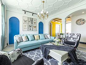 130平地中海田园风格三居室装修 蓝色世界
