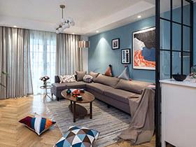北欧风格三房两厅效果图 用蓝色装点岁月